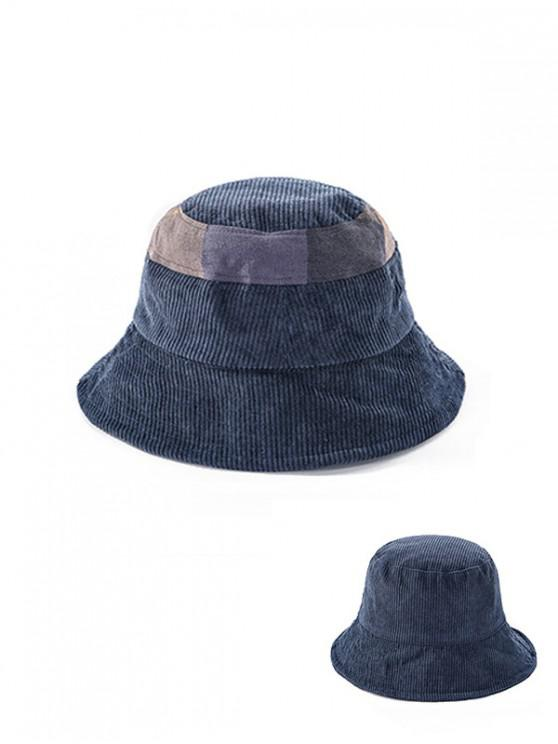 lady Jointed Plaid Floppy Bucket Hat - CADETBLUE