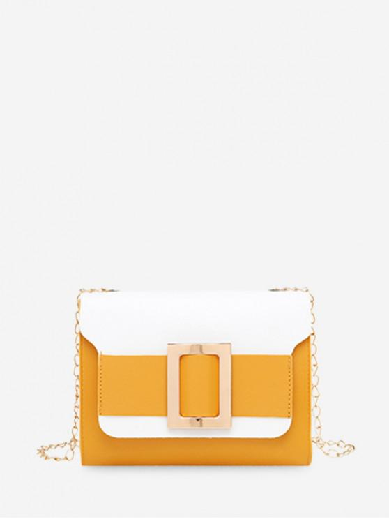 outfit Square Buckle Two Tone Chain Crossbody Bag - BRIGHT YELLOW
