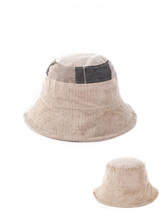 chic Jointed Plaid Floppy Bucket Hat - BEIGE