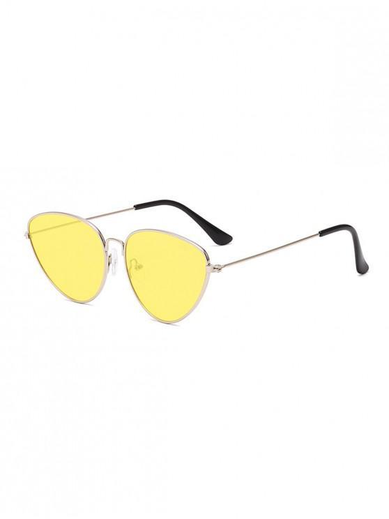 กลางแจ้งโลหะสามเหลี่ยมนักบินแว่นตากันแดด - สีเหลือง