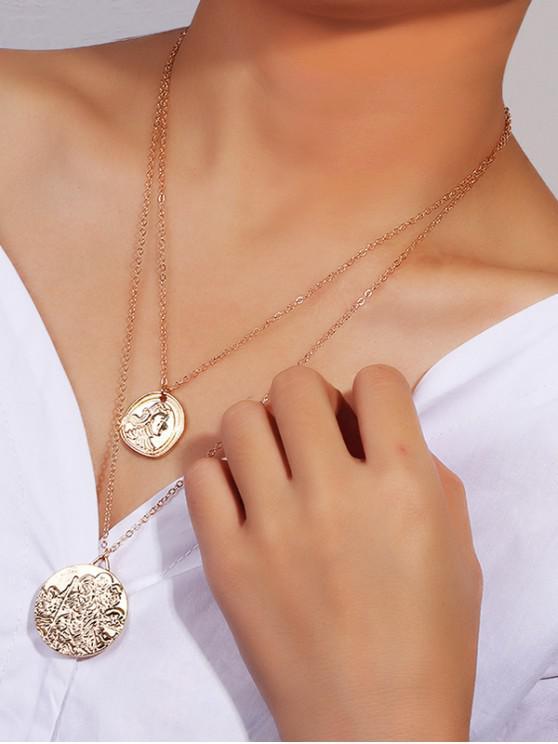 online Portrait Round Pendant Layers Necklace - GOLD