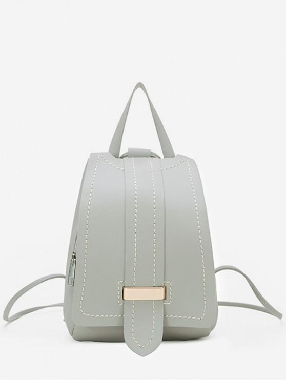 women Strap Accent Flap PU Leather Backpack - LIGHT GRAY