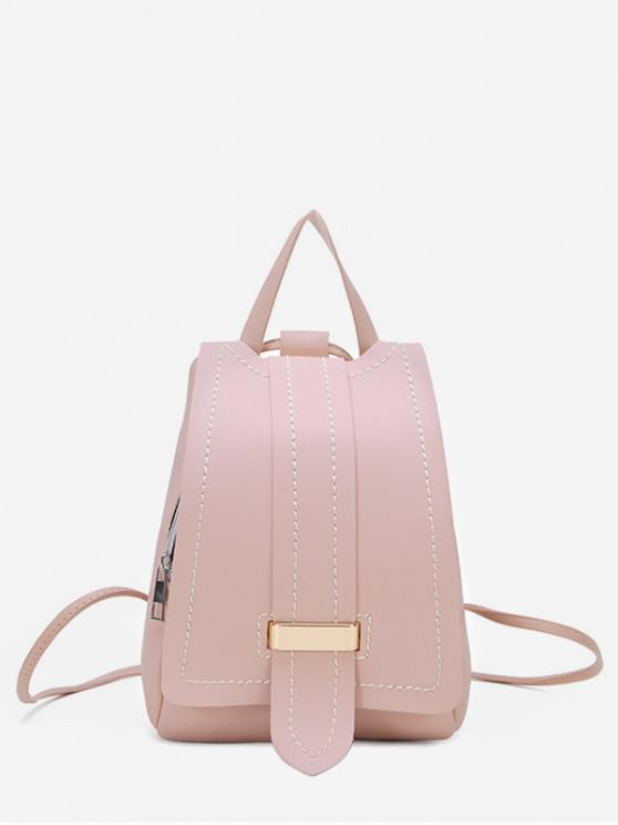 ladies Strap Accent Flap PU Leather Backpack - PIG PINK