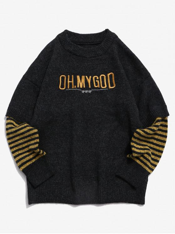 shop Letter Embroidery Striped Graphic Faux Twinset Sweater - DARK SLATE GREY XS
