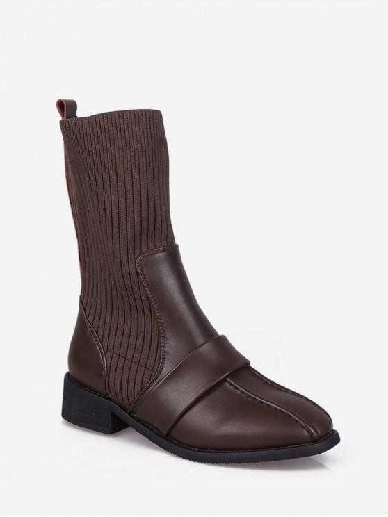 buy Square Toe Low Heel Sock Mid Calf Boots - BROWN EU 39