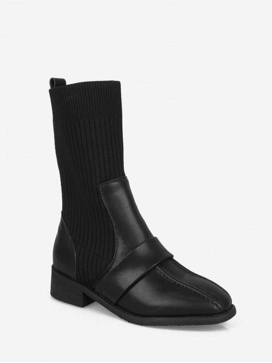women's Square Toe Low Heel Sock Mid Calf Boots - BLACK EU 39