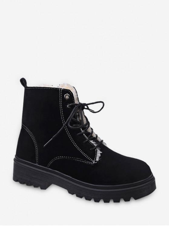 lady Suede Fleece Lace Up Ankle Boots - BLACK EU 37