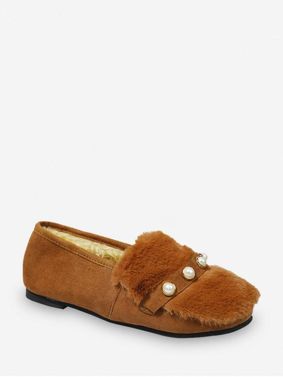 shops Fuzzy Panel Faux Pearl Detail Slip On Shoes - BROWN EU 36