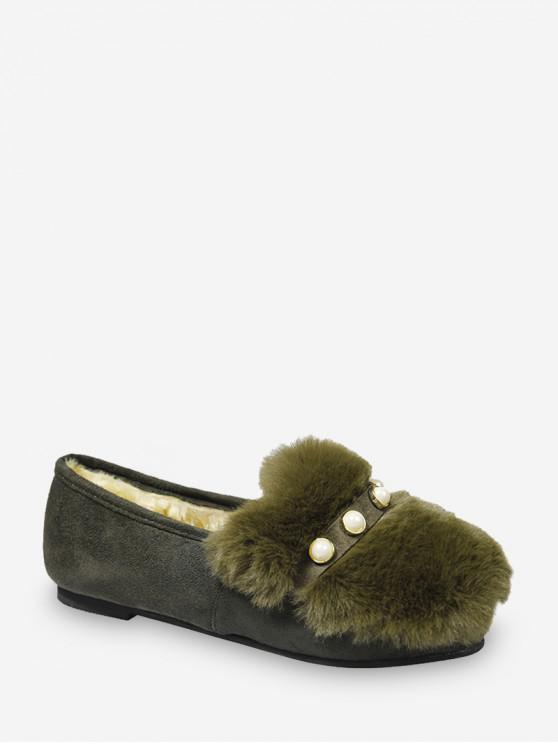 trendy Fuzzy Panel Faux Pearl Detail Slip On Shoes - GREEN EU 43