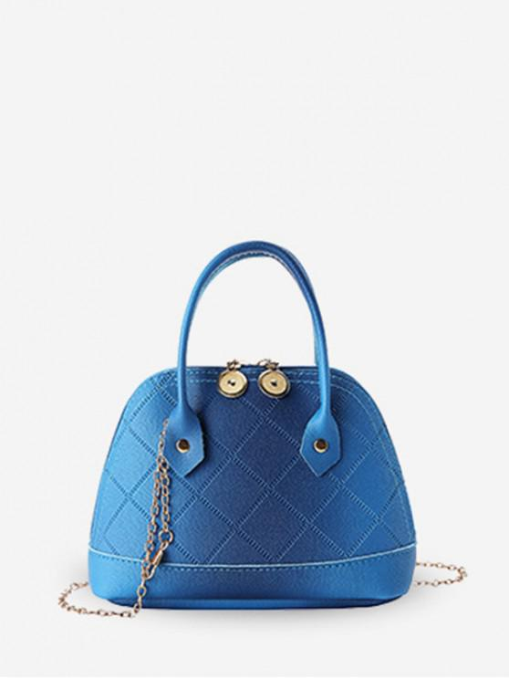 sale Quilted PU Leather Shell Tote Bag - BLUEBERRY BLUE