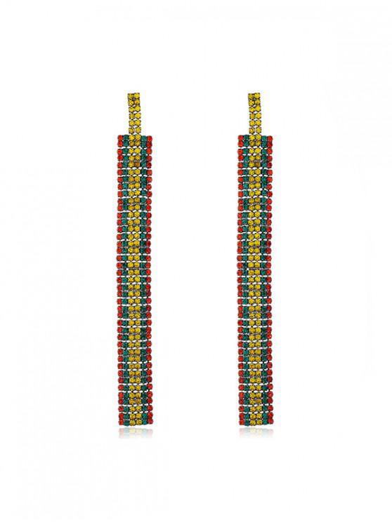 women's Colorful Rhinestone Long Earrings - MULTI