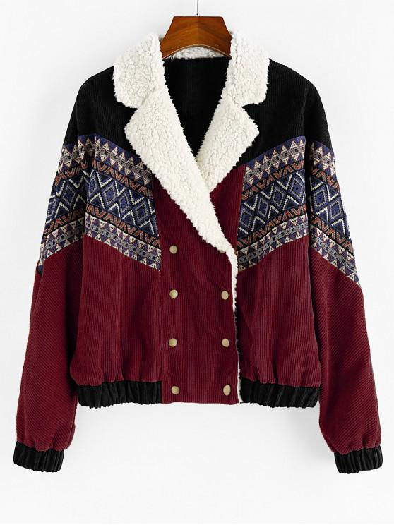 unique ZAFUL Double Breasted Tribal Print Faux Shearling Panel Corduroy Jacket - RED WINE L