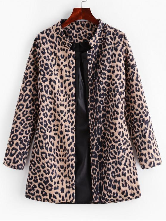 ladies Leopard Print Lapel Collar Open Blazer - LEOPARD S