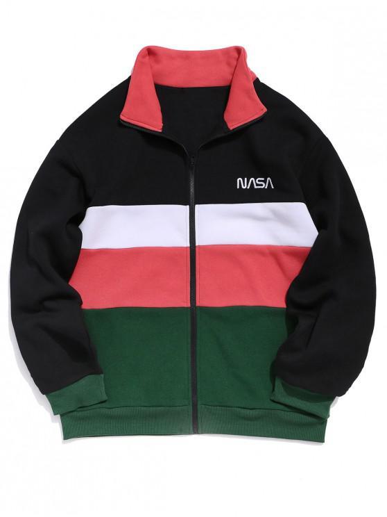 women ZAFUL Color-blocking Stand Collar Zip Up Fleece Jacket - MULTI S