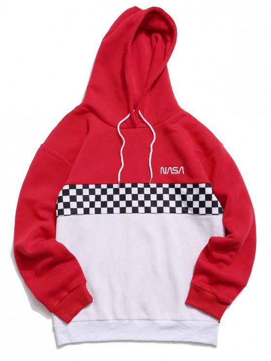 hot ZAFUL Checked Insert Fleece Drawstring Hoodie - RED L