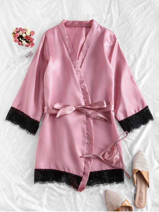 women Lace Trim Satin Robe Set - PINK ROSE XL