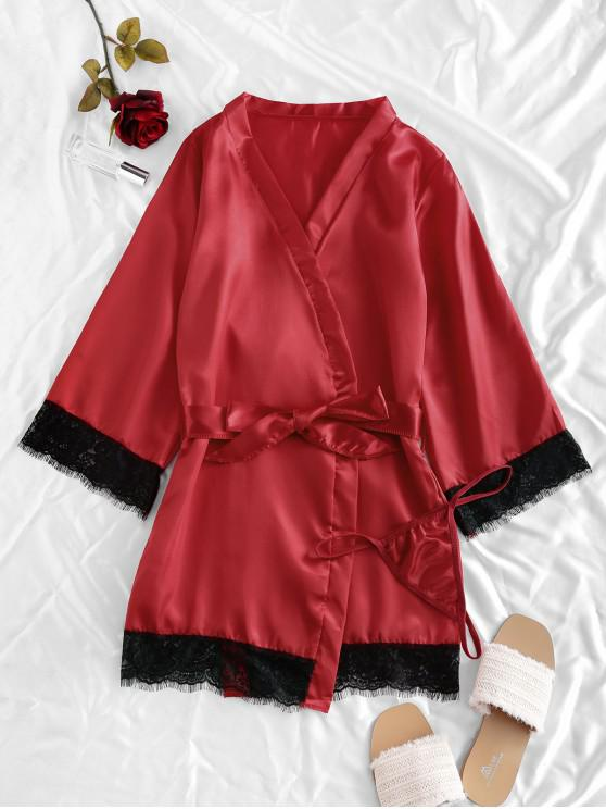 online Lace Trim Satin Robe Set - RED WINE S