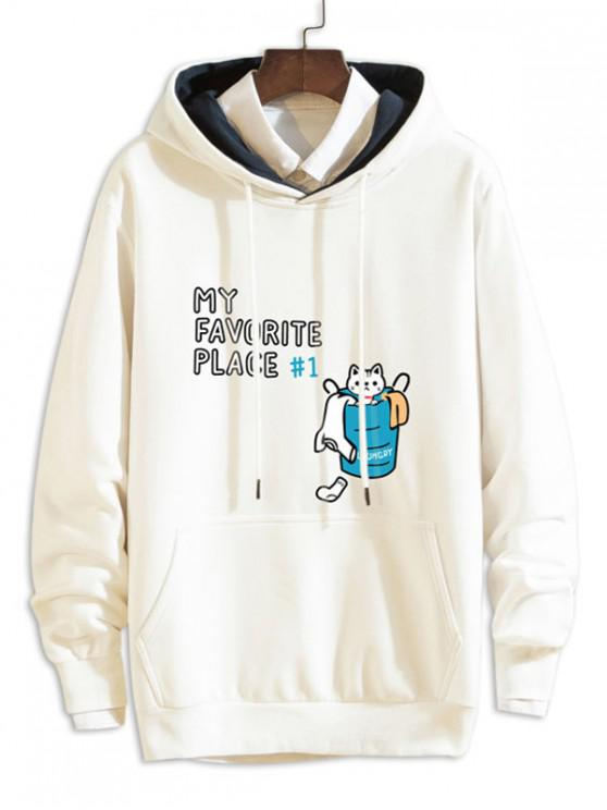 womens Cartoon Cat Letter Print Casual Drawstring Hoodie - WHITE XL