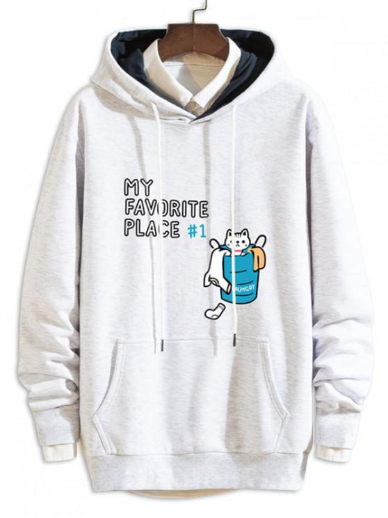 womens Cartoon Cat Letter Print Casual Drawstring Hoodie - LIGHT GRAY XL