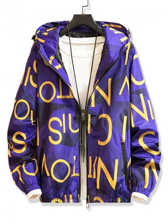 buy Letter Graphic Pattern Zip Up Hooded Jacket - PURPLE IRIS L