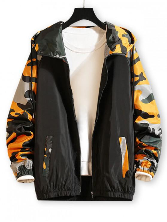 trendy Camo Printed Zip Up Hooded Casual Jacket - YELLOW 3XL