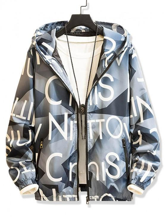 womens Letter Graphic Pattern Zip Up Hooded Jacket - LIGHT BLUE XS