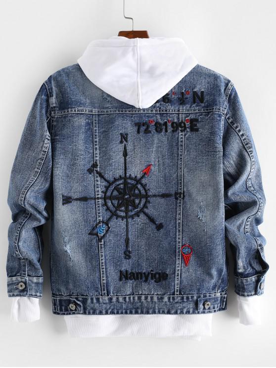 lady Letter Embroidery Graphic Scratch Jean Jacket - DENIM DARK BLUE S