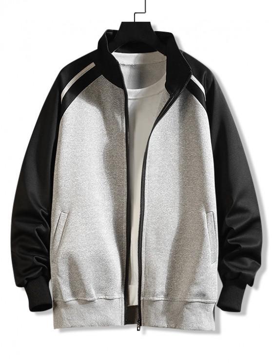 shops Casual Color Spliced Zip Up Jacket - GRAY L