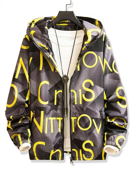 trendy Letter Graphic Pattern Zip Up Hooded Jacket - SUN YELLOW S