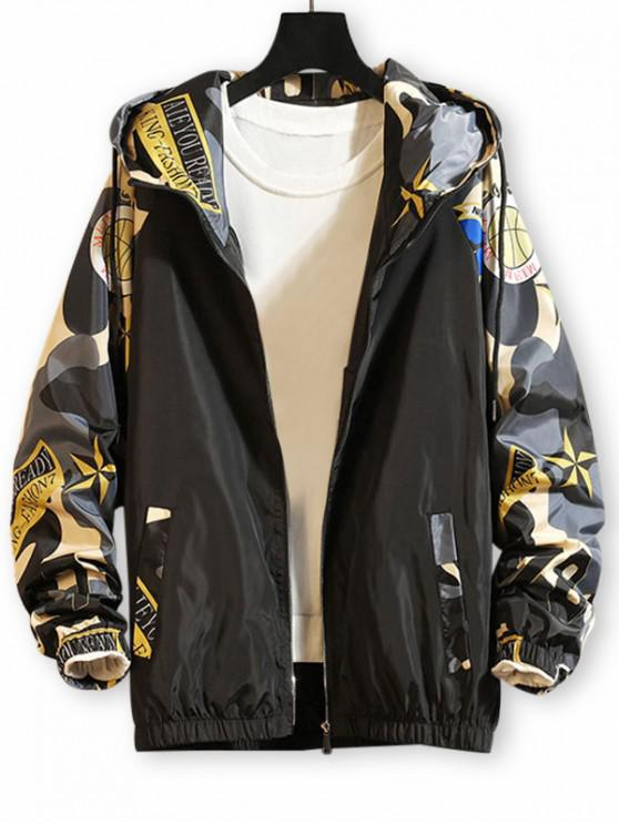 unique Camo Printed Zip Up Hooded Casual Jacket - GRAY 3XL