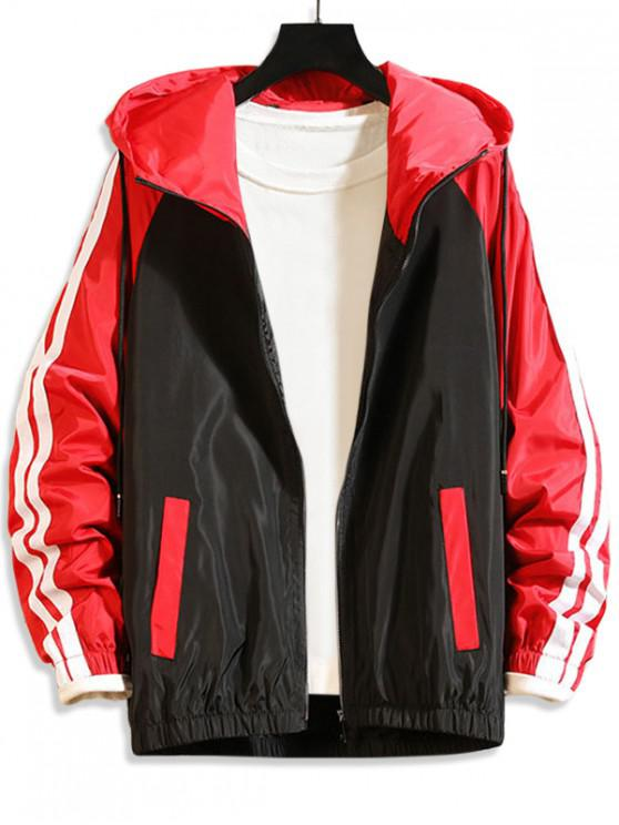 affordable Colorblock Zip Up Hooded Casual Jacket - RED 3XL