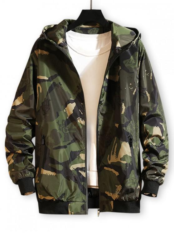 outfits Camo Printed Zip Up Hooded Wind Jacket - ARMY GREEN L