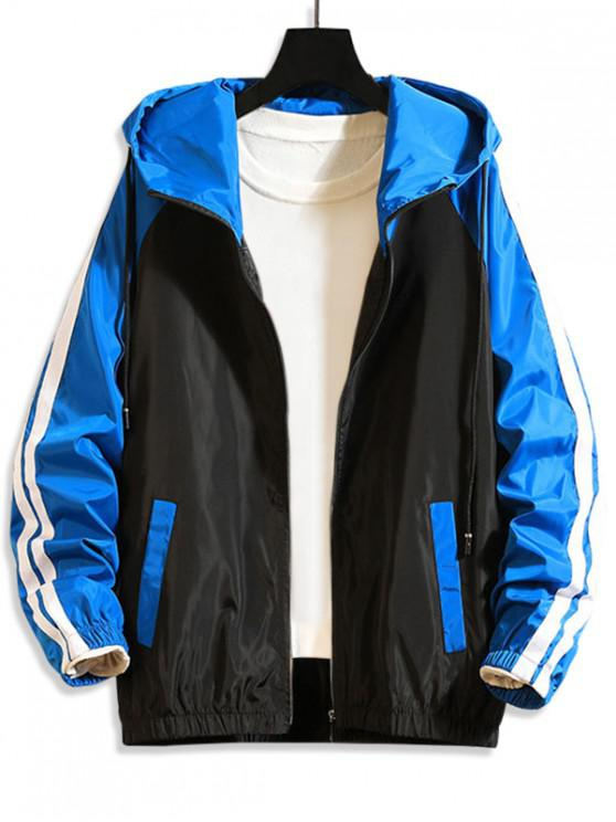 chic Colorblock Zip Up Hooded Casual Jacket - BLUE M