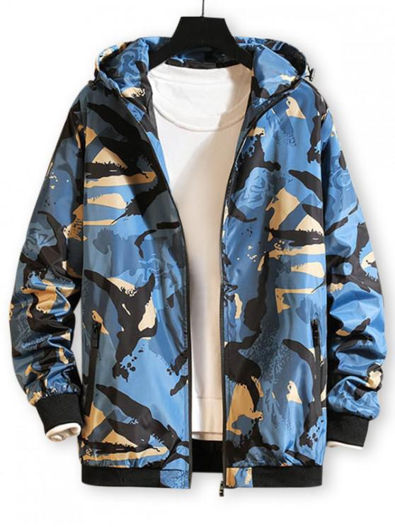 online Camo Printed Zip Up Hooded Wind Jacket - BLUEBERRY BLUE S