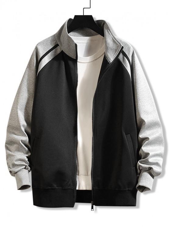 buy Casual Color Spliced Zip Up Jacket - BLACK 4XL
