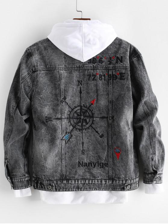 womens Letter Embroidery Graphic Scratch Jean Jacket - BLACK M