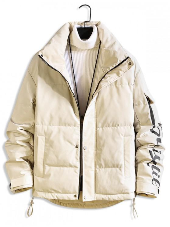 ladies Letter Printed Zip Up Casual Puffer Jacket - WARM WHITE L