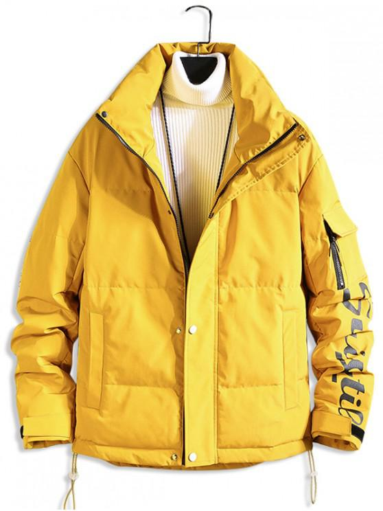 trendy Letter Printed Zip Up Casual Puffer Jacket - BRIGHT YELLOW L