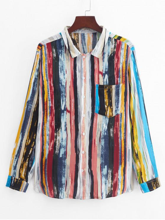 lady Vintage Striped Printed Long Sleeves Shirt - MULTI-A 3XL