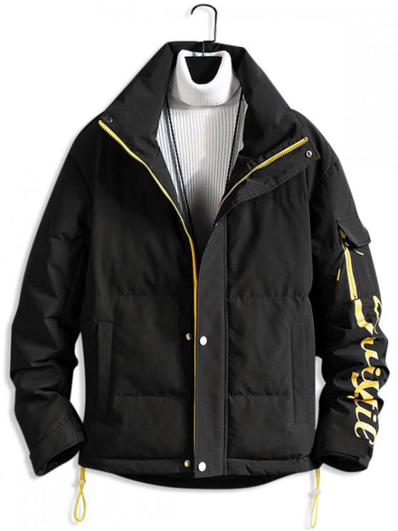 hot Letter Printed Zip Up Casual Puffer Jacket - BLACK XS