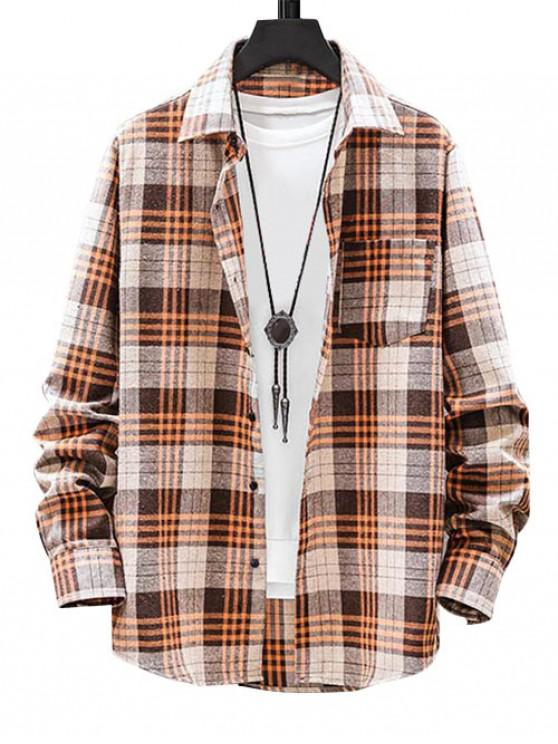 chic Plaid Pattern Button Long Sleeves Shirt - KHAKI M