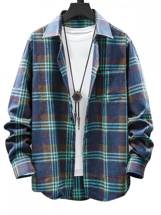 chic Plaid Pattern Button Long Sleeves Shirt - GREEN 2XL