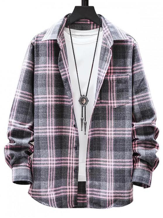 shop Plaid Pattern Button Long Sleeves Shirt - LIGHT PINK L