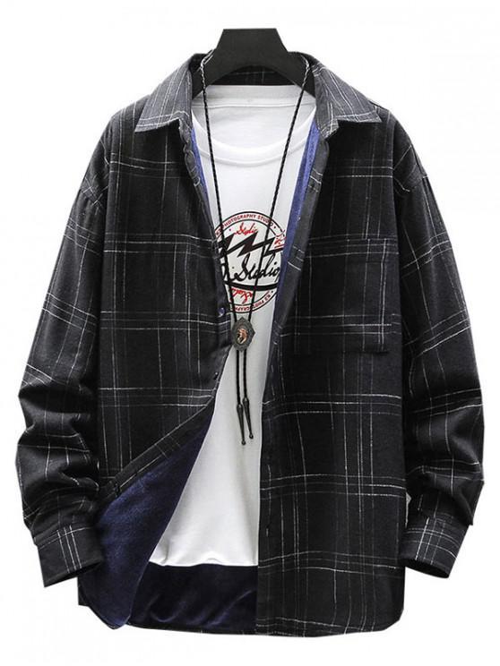 womens Plaid Print Chest Pocket Casual Fleece Shirt - BLACK M