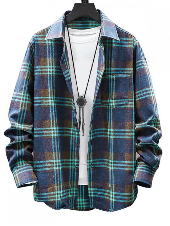 chic Plaid Pattern Button Long Sleeves Shirt - GREEN 3XL