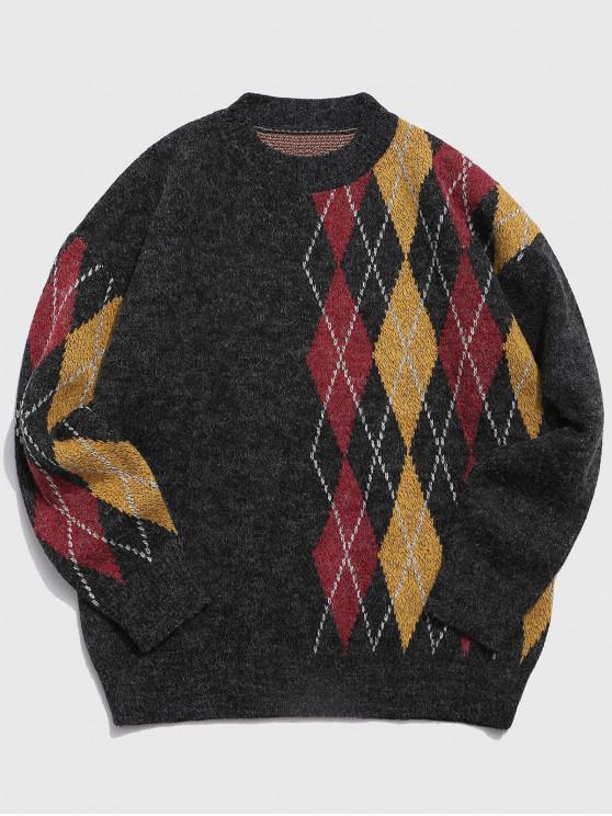 ladies Geometric Graphic Spliced Crew Neck Sweater - DARK SLATE GREY 2XL