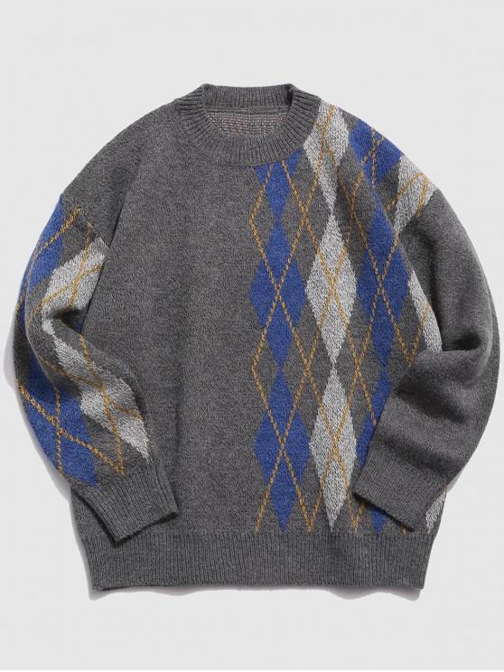 best Geometric Graphic Spliced Crew Neck Sweater - BATTLESHIP GRAY XL