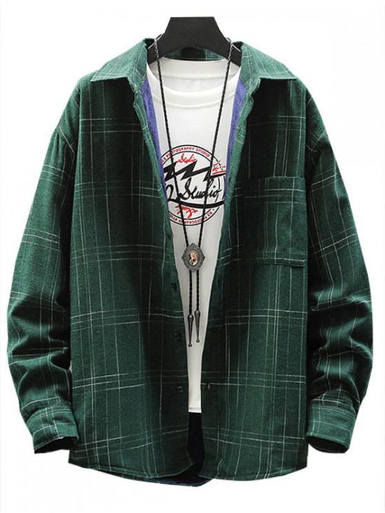 ladies Plaid Print Chest Pocket Casual Fleece Shirt - DARK GREEN M