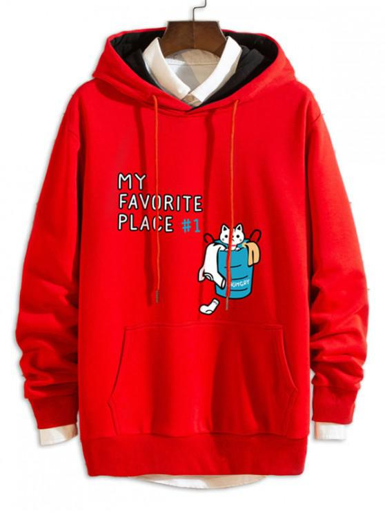 lady Cartoon Cat Letter Print Casual Drawstring Hoodie - RED 2XL