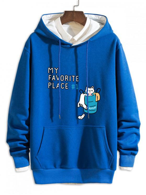 outfit Cartoon Cat Letter Print Casual Drawstring Hoodie - BLUE L